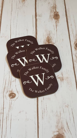 Personalized Family Name Coaster Set - The  Little Reasons