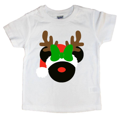 Mickey/Minnie Reindeer With Santa Hat Tee - The  Little Reasons