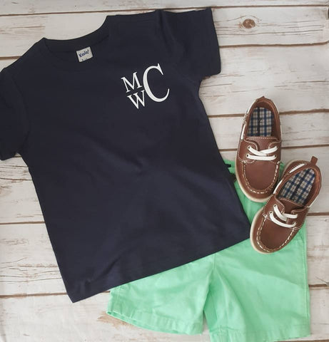 Pocket Sized Stacked  Monogram Tee - The  Little Reasons