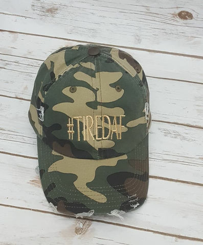 #TIREDAF Distressed Baseball Cap - The  Little Reasons