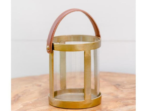 Brass & Leather Votive | Adorn Charleston
