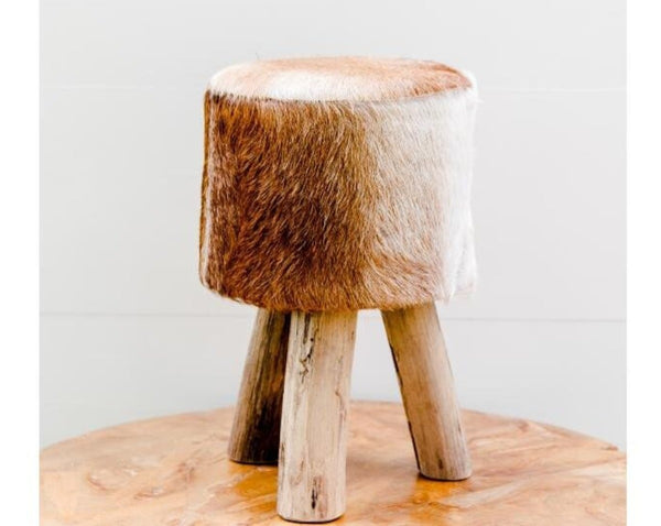 Brown Hide Stool | Adorn Charleston