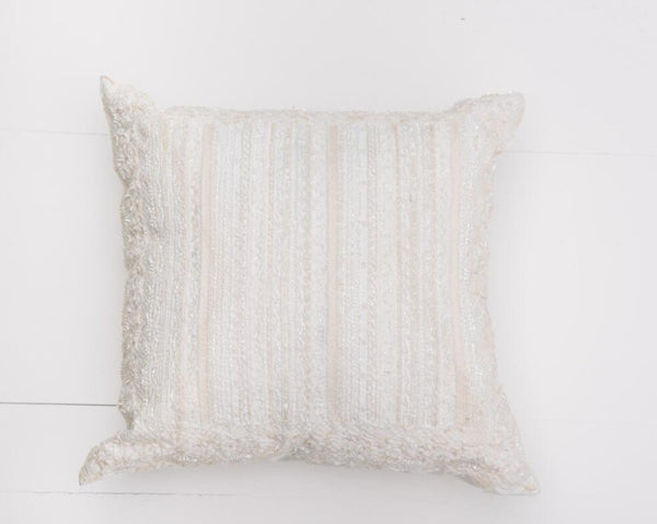 Cream Beaded Pillow | Adorn Charleston