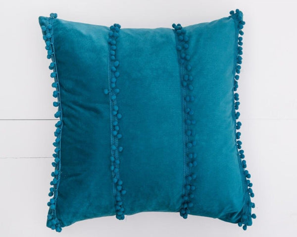 Blue Pom Pom Pillow | Adorn Charleston