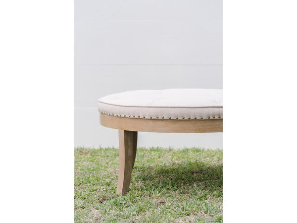 Tufted Linen Cocktail Ottoman | Adorn Charleston