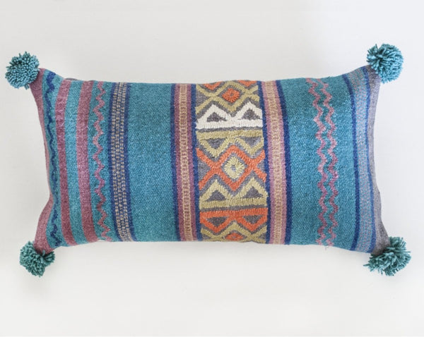 Blue Multi PomPom Pillow