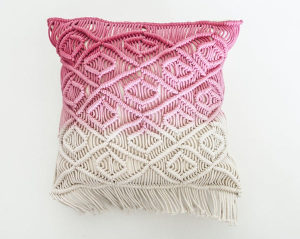 Pink Macrame Pillow
