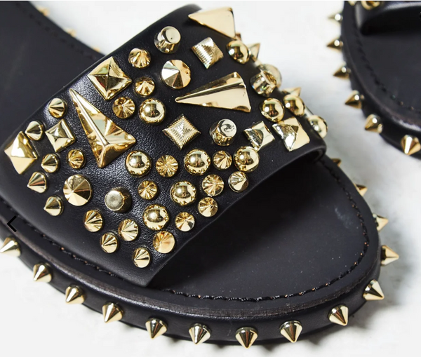 Black leather gold studded slide on sandal, tonie slides.