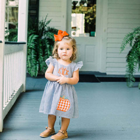 Seersucker Pumpkin Applique Dress