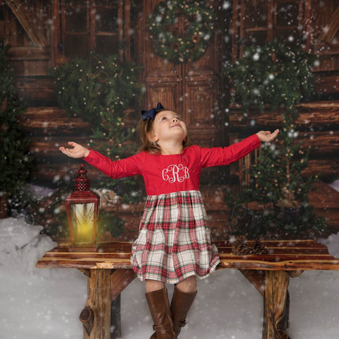 Christmas Plaid Monogram Dress