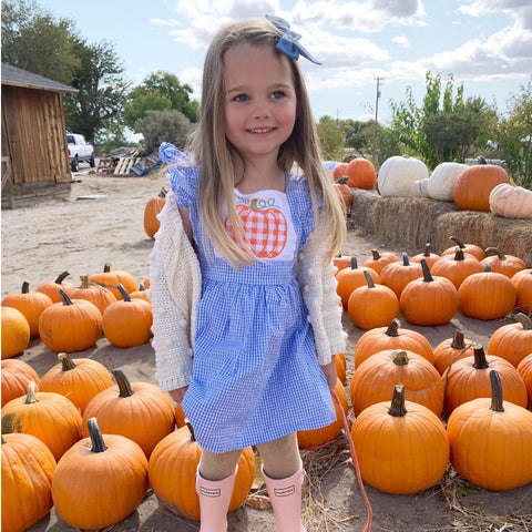 Gingham Pumpkin Applique Dress