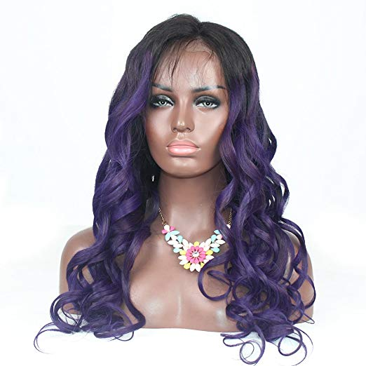 1B/Purple Human Hair Wig Glueless Full Lace Wigs Ombre Deep Wave Lace Front Wig with Baby Hair