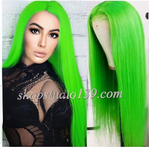 Neon Green free part Lace Front Wig