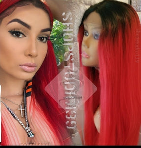 Red hot ombre 24inch lace front wig