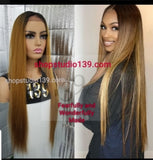 ( Erica) 1b/Honey human Hair lace front wig with deep natural part