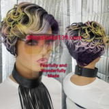 (Watercolor) pixie cut wig with side part