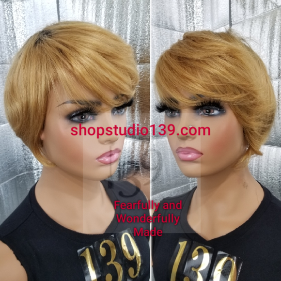 (Gwen) 100% Human hair short Bob with bangs