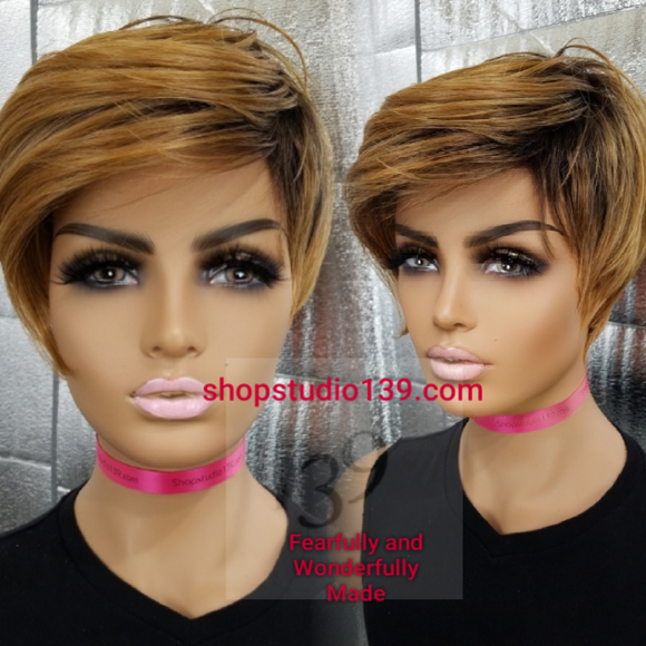 (Shine) short and sassy swoop bang  pixie wig