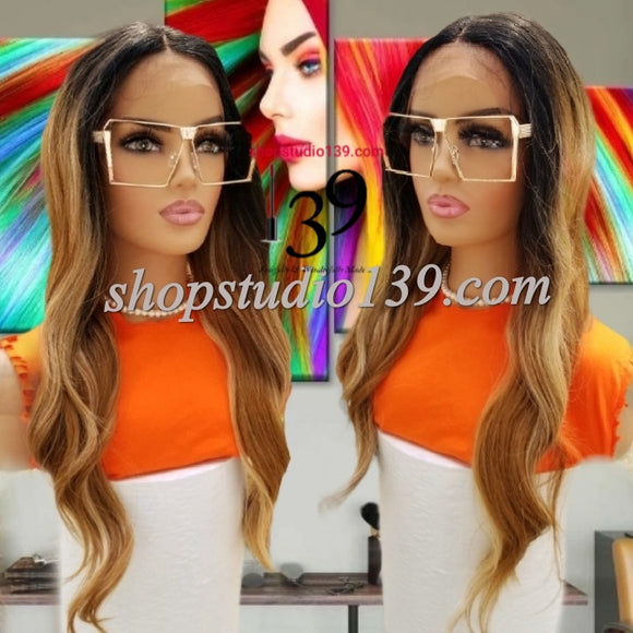 (Ellis) Balayage Body wave lace front wig with shifting part