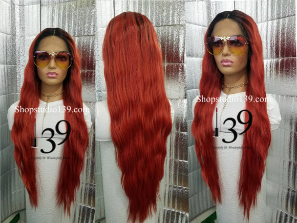 Charlett Extra Long Lace Front middle part wig