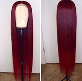 Celebrity Straight remy 99 j red lace front Brazillian free 13x4 part wig