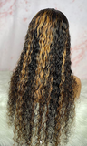 OMG 100% human Hair Water Wave Lace  Front Wig with Highlights