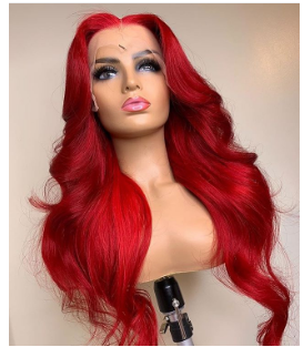 Red Body Wave Human Hair Lace Front