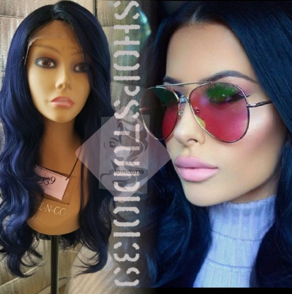 (Nettie )Blue free part body wave lace front wig