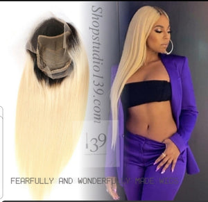 100%  Human Hair 1B /613 Lace front wig with free parting space