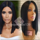 Human hair lace front bob wig 12 inches