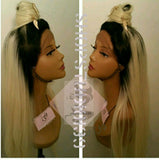 Blonde ombre lace front wig with top knot