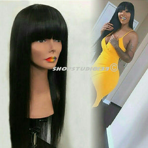 878049853 Human hair wig with Chinese bangs – Shopstudio139