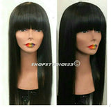 Human hair wig with Chinese bangs