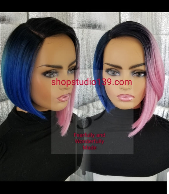Muilt  color bob wig with deep side part