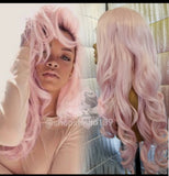 Pink free part  curly lace front wig