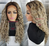 Ash blonde water wave lace front wig