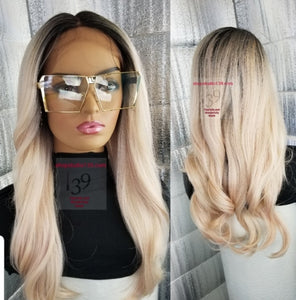 Rosegold lace front wig with shifting part