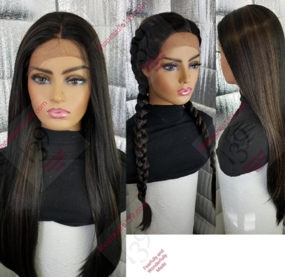 1b/30 lace front wig with shifting part