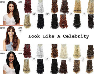 "Affordable celebrity Wowfactor 20"" Curly Full Head Clip in High Quality Synthetic Hair Extensions 7pcs 140gram"