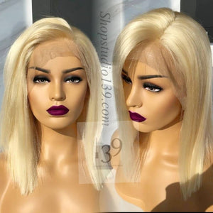 Beautiful Human Hair Lace Front Blonde 12 inch Bob Wig