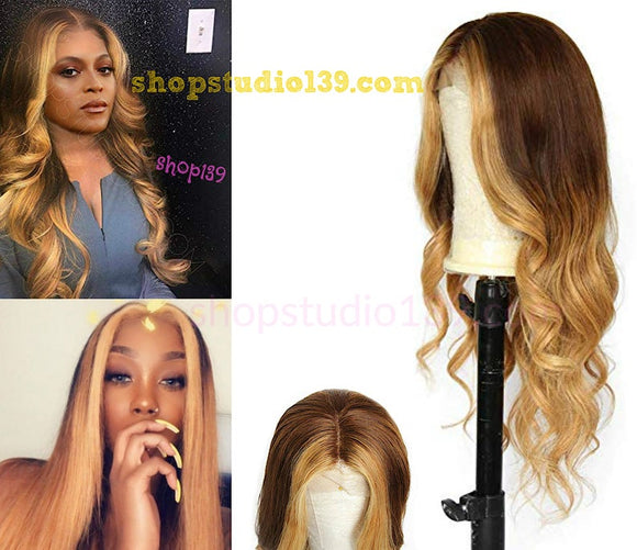 Celebrity brown ombre 3 tone wavy lace front wig 150 Density 360 Brazilian remy Ombre Color With Blonde Hightlights Hair