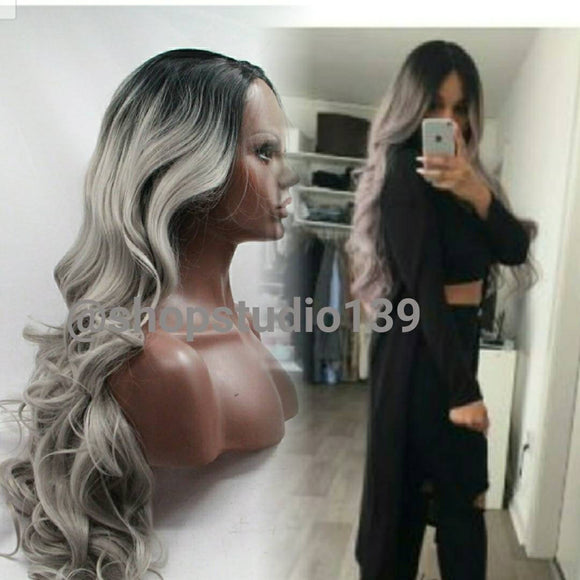 Gray curly ombre dark roots lace front wig 24inches