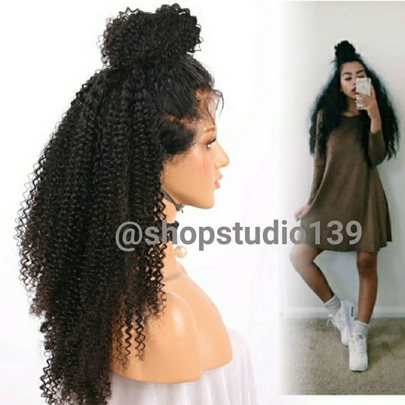 100% human hair lace front kinky curly