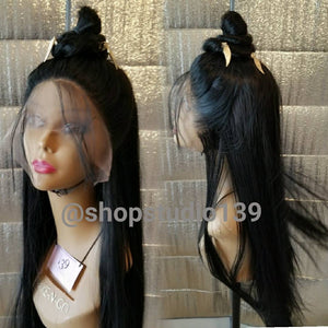 Sexy blk bone straight lace front wig  With  High bun and  Jewelry