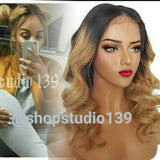 Human hair lace front ombre honey blonde dark roots per plucked hairline perfect for all skin tones