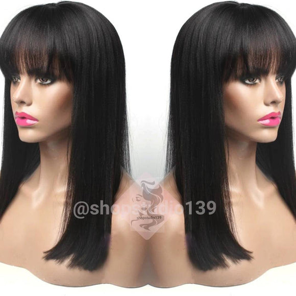 Human Hair  Blend Straight Bang Black Easy 2 Wear Wig