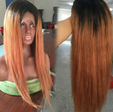 100% human Ombre lace front with dark roots