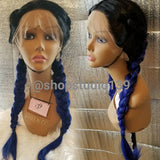 Blue ombre dark roots double braided  lace front 24inches