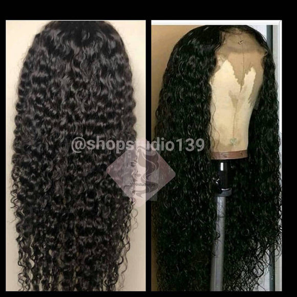 100% Human Hair Virgin Brazilian Water Wave Lace Front Wig