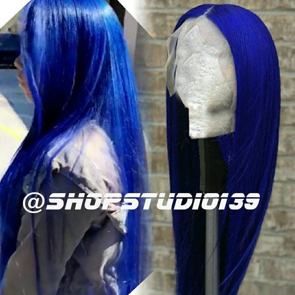 (Diana) 100% Blue Human Hair Full Lace Front  Wig.